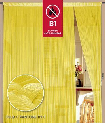 Fadenvorhang 150 cm x 300 cm gelb in B1 schwer entflammbar – Bild 1