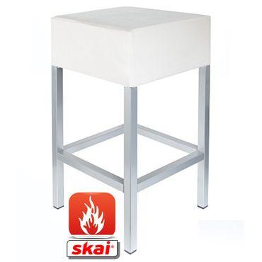 Barhocker Kaikoon weiß/ silber B1 Maße: 34 cm x 34 cm x 65 cm schwer entflammbar