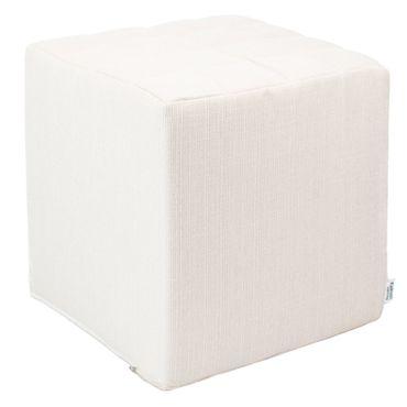 Sitzwürfel Kaikoon Weiß Stoffbezug 40 cm x 40 cm x 45 cm
