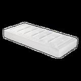 Malie Matratze Universum  Produktinformationen Gesamthöhe: ca. 22 cm  Federkernsystem Bonnell mit 216 Federn (Basis: 100x200 cm) beidseitig feste Polsterträger Comfortflex Schaum Kokosabdeckung Einheitshärtegrad H4 aus strapazierfähigem Baumwolldrell 100% Baumwolle zusätzliche Polsterung Faserfill auf der Oberseite Baumwollsynchronsteppung auf der Unterseite beidseitig unterlegt mit Polypropylenvlies Koffergriffe