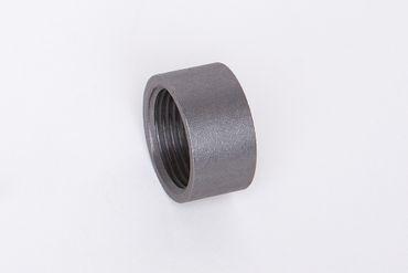 Stahl schwarz Muffe halbe Länge ST37.2, 1.0038, S235JRG2, Nr. 16D