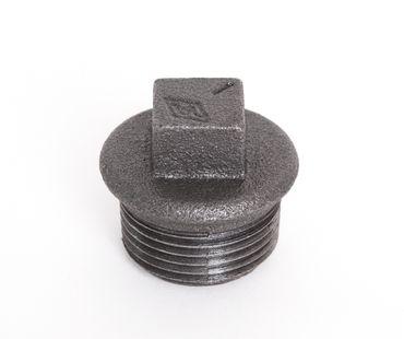 Temperguss 4-kant Stopfen schwarz DIN EN 10242, DIN 2950, Nr. 290 / T9