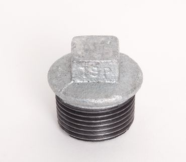 Temperguss 4-kant Stopfen verzinkt DIN EN 10242, DIN 2950, Nr. 290 / T9