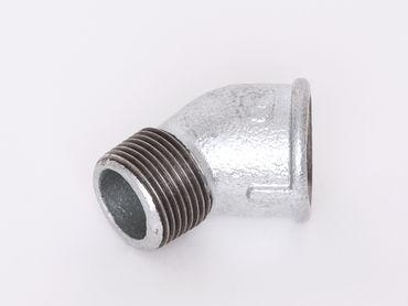 Temperguss Winkel 45° IG x AG verzinkt DIN EN 10242, DIN 2950, Nr. 121 / A4 - 45°