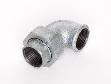 Temperguss Winkelverschraubung IG x IG flach dichtend verzinkt DIN EN 10242, DIN 2950, Nr. 95 / UA1