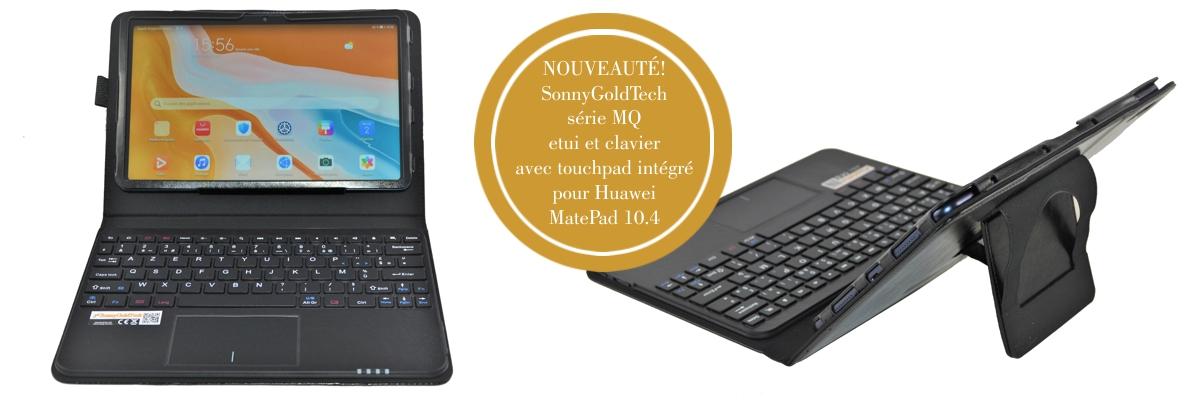 MQ pour Huawei MatePad 10.4 - Etui avec clavier français AZERTY pour Huawei MatePad 10.4   Housse avec clavier Bluetooth, touchpad (pavé tactile) intégré