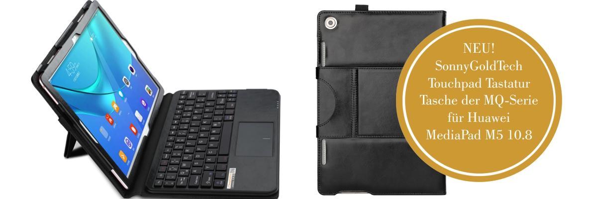 MQ für Huawei M5 10.8 - Bluetooth Tastatur Tasche mit Multifunktions-Touchpad für Huawei MediaPad M5 10.8 | Hülle mit Bluetooth Tastatur und Touchpad für Huawei MediaPad M5 10.8 , MediaPad M5 Pro 10.8 LTE | Layout QWERTZ | Schwarz