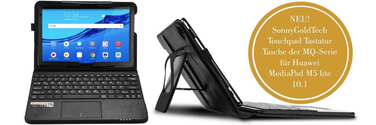 MQ für Huawei M5 lite 10.1 - Bluetooth Tastatur Tasche mit Multifunktions-Touchpad für Huawei MediaPad M5 lite LTE 10.1 | Hülle mit Bluetooth Tastatur und Touchpad für Huawei MediaPad M5 lite WiFi 10.1 | Layout QWERTZ | Schwarz