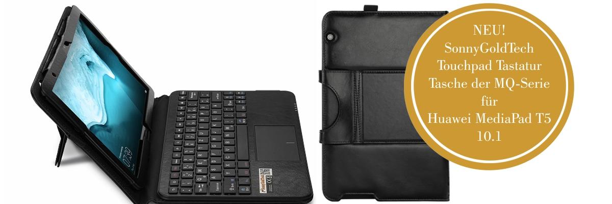 MQ für Huawei MediaPad T5 10.1 - Bluetooth Tastatur Tasche mit Multifunktions-Touchpad für Huawei MediaPad T5 10.1 LTE | Hülle mit Bluetooth Tastatur und Touchpad für Huawei MediaPad T5 10.1 WiFi | Layout QWERTZ | Schwarz