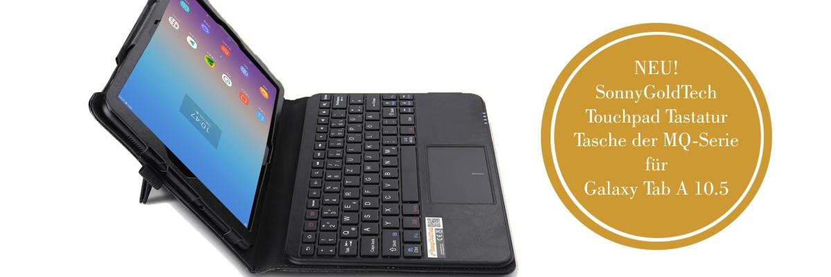 MQ für Galaxy Tab A 10.5 - Bluetooth Tastatur Tasche mit Multifunktions-Touchpad für Samsung Galaxy Tab A 10.5 | Tastatur Hülle für Galaxy Tab A 10.5 LTE SM-T595 WiFi T590 | Tastatur Deutsch QWERTZ