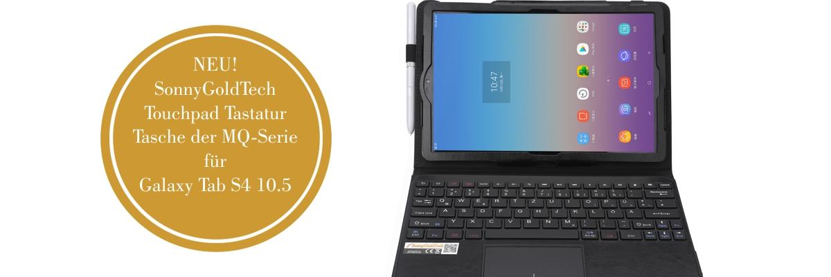 MQ für Galaxy Tab S4 10.5 - Bluetooth Tastatur Tasche mit Multifunktions-Touchpad für Samsung Galaxy Tab S4 10.5 | Hülle mit Bluetooth Tastatur und Touchpad für Galaxy Tab S4 LTE SM-T835 , Tab S4 WiFi SM-T830 | Layout QWERTZ | Schwarz