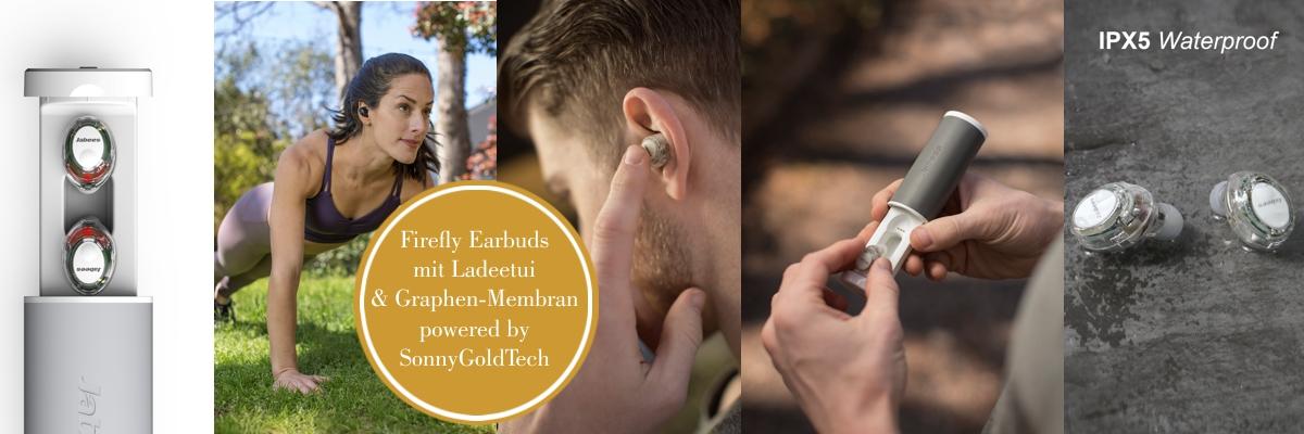 Firefly - Graphen Earbuds mit Ladeetui - Bluetooth Headset mit mobiler Ladestation in Weiß-Grau