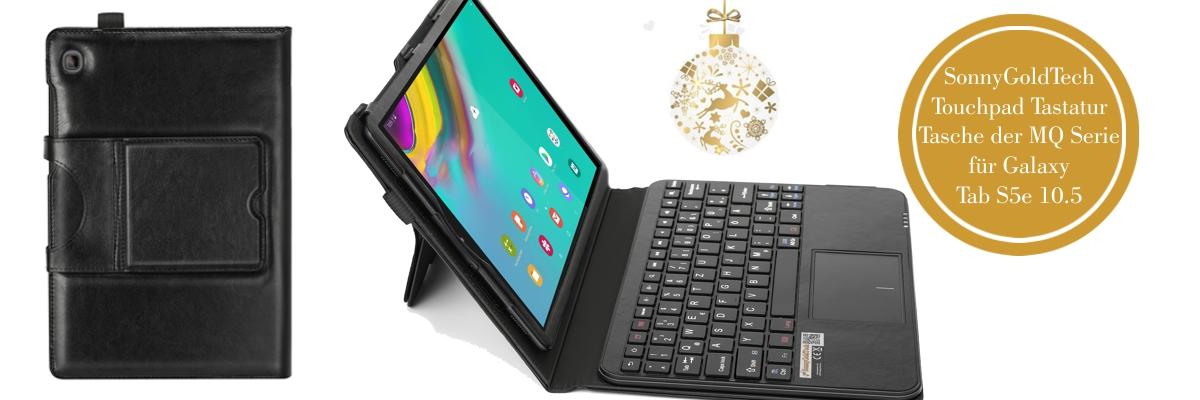 MQ für Galaxy Tab S5e 10.5 - Bluetooth Tastatur Tasche mit Multifunktions-Touchpad für Samsung Galaxy Tab S5e 10.5 | Hülle mit Bluetooth Tastatur und Touchpad für Galaxy Tab S5e LTE SM-T725 , Tab S5e WiFi SM-T720 | Layout QWERTZ | Schwarz