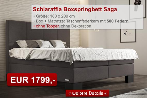 Schlaraffia Aktions-Boxspringbett Saga 180x200 cm anthrazit Taschenfederkernmatratze H3