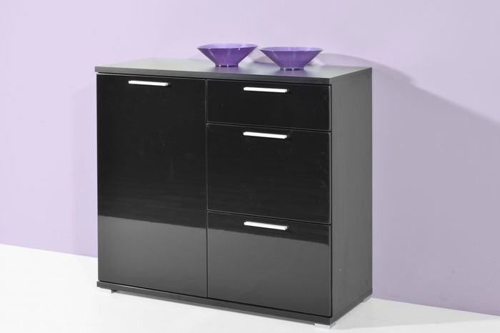 germania 3440 083 kommode almeria schwarz hochglanz. Black Bedroom Furniture Sets. Home Design Ideas