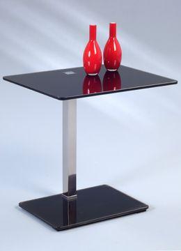 HomeTrends4You 502086, Beistelltisch Wenke, Glas schwarz lackiert/Edelstahl – Bild 1