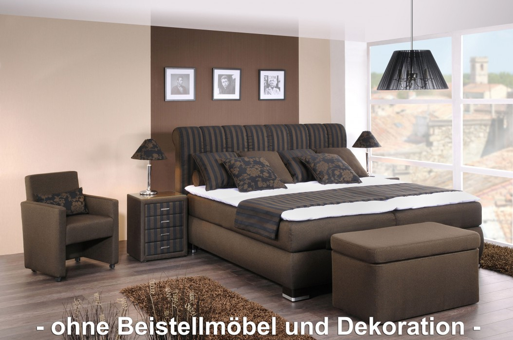 oschmann boxspringbett prestige 180x200 cm stoff braun h2 h3 hersteller oschmann. Black Bedroom Furniture Sets. Home Design Ideas