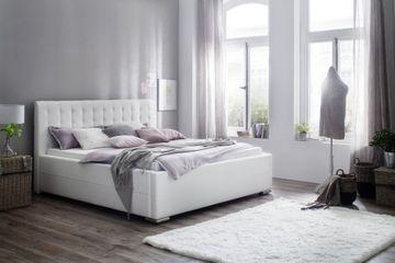 Meise Polsterbett Toronto in Kunstleder weiß 180x200 cm, inkl. Bettkasten, Federholzrahmen – Bild 1