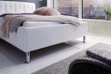 Meise Polsterbett Rapido in Kunstleder weiß 180x200 cm, Kopfteil mit Swarovski-Steinen – Bild 3