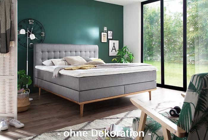 meise boxspringbett massello hellgrau porto 31 inkl holzleisten cs topper 180x200 cm. Black Bedroom Furniture Sets. Home Design Ideas