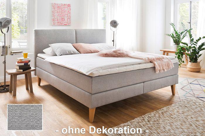 meise boxspringbett greta stoff porto 31 hellgrau inkl cs topper 180x200 cm h3 schlafen. Black Bedroom Furniture Sets. Home Design Ideas