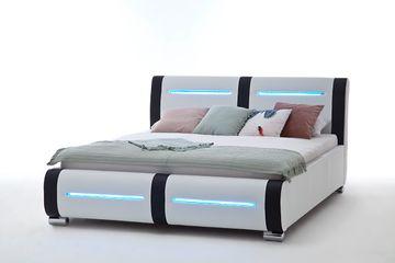 Meise LED-Polsterbett Candela in Kunstleder weiß/Abs. schwarz 160x200 cm – Bild 2