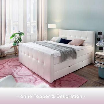 Meise Boxspringbett Star mit Bettkasten - Kunstleder weiß - Swarovski®-Kristalle - 180x200 cm - TTFK 350 - H3 – Bild 1