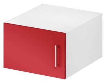 Wellemöbel KleiderSchrankWunder Aufsatz 50x32x57 cm, 81343, Alpinweiß / Rubinrot Hochglanz