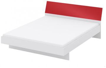 Wellemöbel KleiderSchrankWunder Bett mit Kopfteil 160x200 cm, 81352, Frontfarbe Alpinweiß / Rubinrot Hochglanz