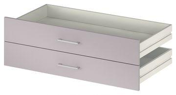 Wellemöbel KleiderSchrankWunder Schubkastenfront 2er-Set für 100 cm Schränke, 81403, Lilac Grey Hochglanz