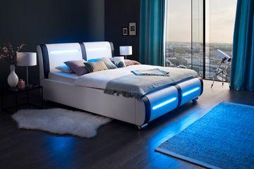 Meise LED-Polsterbett Candela in Kunstleder weiß/Abs. schwarz 180x200 cm – Bild 1