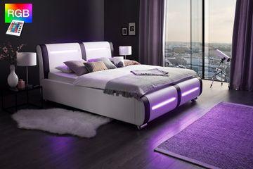 Meise LED-Polsterbett Candela in Kunstleder weiß/Abs. schwarz 180x200 cm – Bild 3