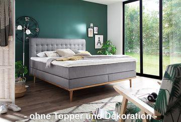 Meise Boxspringbett Massello - hellgrau (PORTO 31) - inkl. Holzleisten + KS-Topper - 180x200 cm - TTFK350 - H3