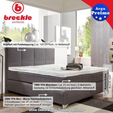 Breckle Boxspringbett Arga Preime 140x210 cm inkl. Topper 3700 (Gelschaum) – Bild 2