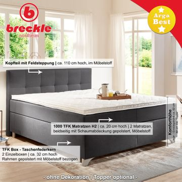 Breckle Boxspringbett Arga Best 140x210 cm inkl. Gel-Topper – Bild 3