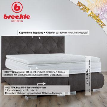 Breckle Boxspringbett Arga Palace 120x210 cm inkl. Gel-Topper Platin Premium – Bild 2