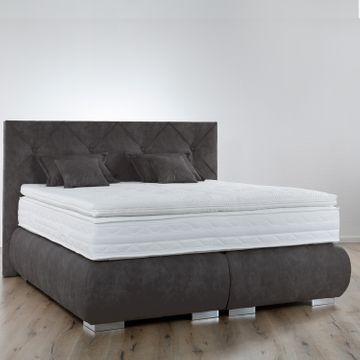 Breckle Boxspringbett Arga Palace 120x210 cm inkl. Gel-Topper Platin Premium & Kissenset – Bild 7