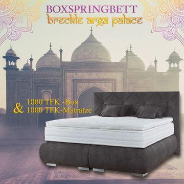 Breckle Boxspringbett Arga Palace 140x210 cm inkl. Gel-Topper Platin Premium & Kissenset – Bild 8