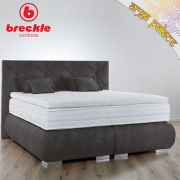 Breckle Boxspringbett Arga Palace 180x210 cm inkl. Gel-Topper Platin Premium & Kissenset