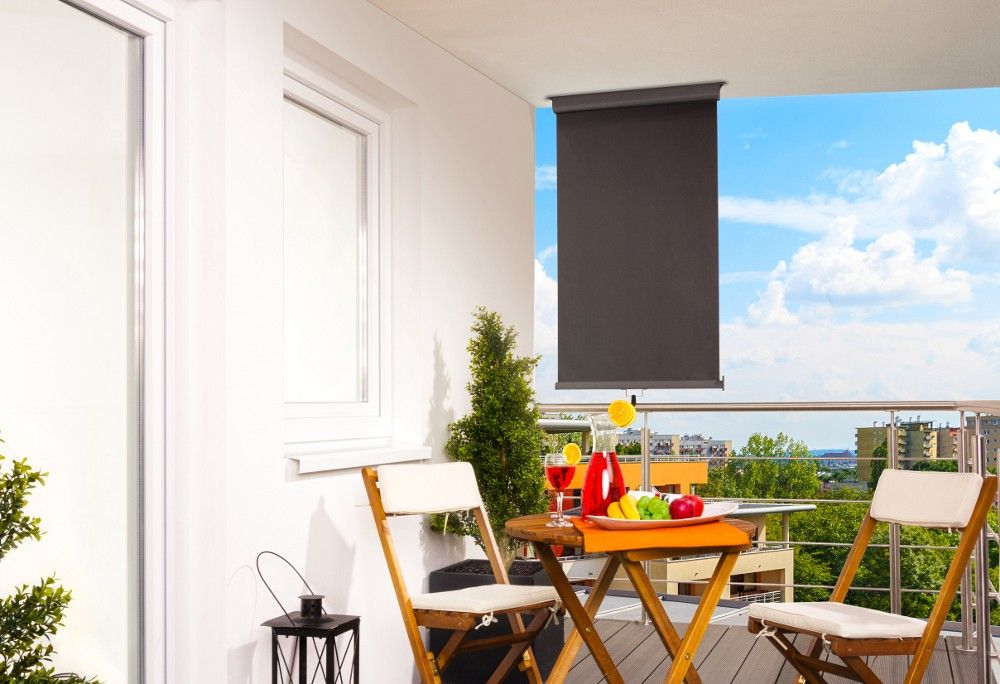 balkon markise anthrazit balkonsichtschutz balkonverkleidung 80 x 300 cm sonnenrollo. Black Bedroom Furniture Sets. Home Design Ideas