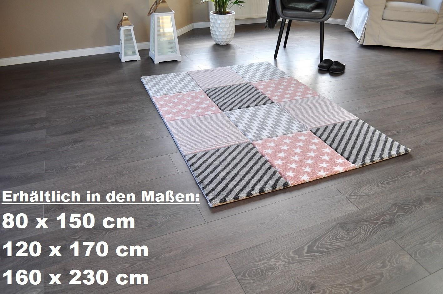 hochwertiger design teppich relief tf 21 rosa grau wei sterne 160 x 230 teppiche design trend. Black Bedroom Furniture Sets. Home Design Ideas