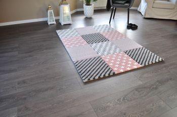 Bild 3 - Hochwertiger FLORA Design Teppich Relief TF-21 Rosa Grau Weiß STERNE 160 x 230