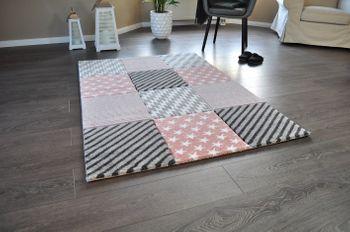 Bild 5 - Hochwertiger FLORA Design Teppich Relief TF-21 Rosa Grau Weiß STERNE 160 x 230