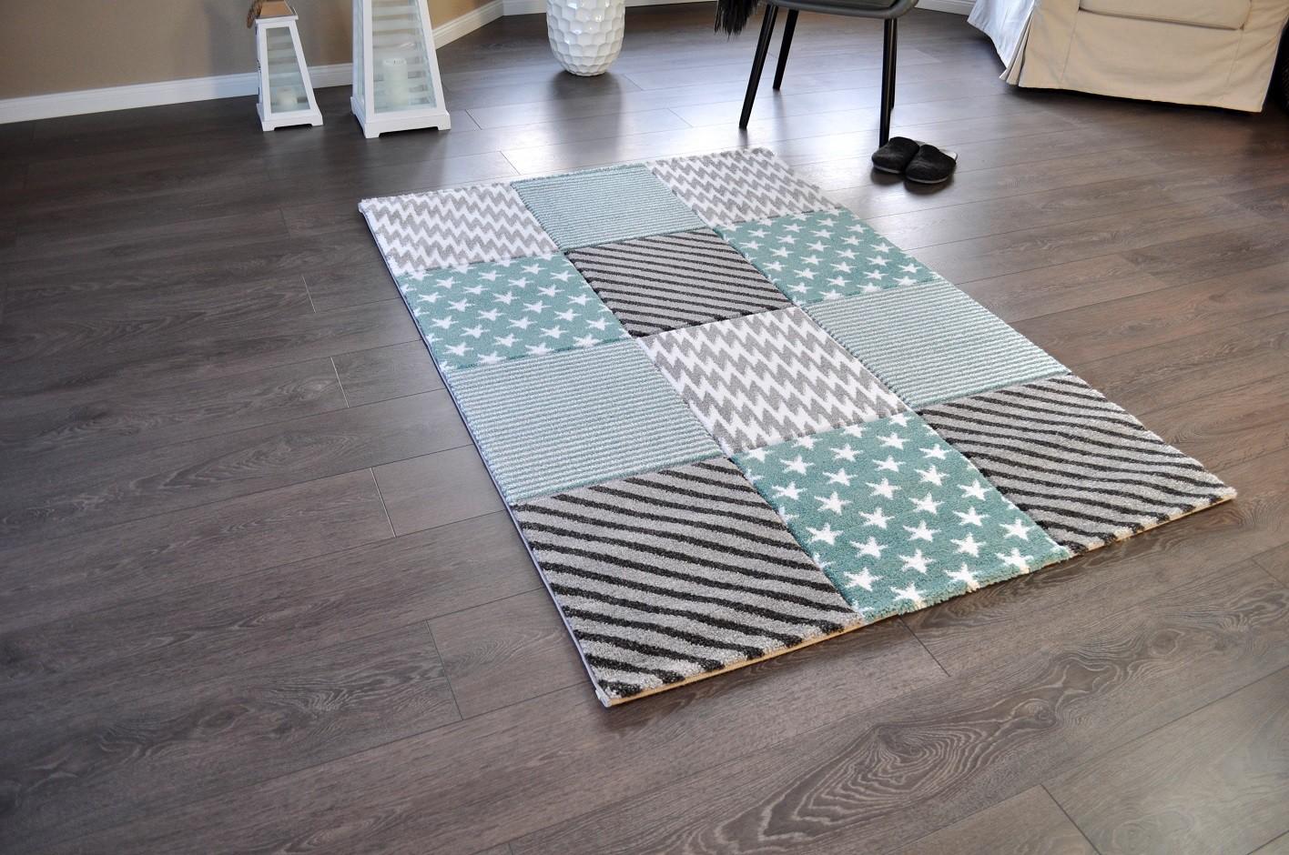 Hochwertiger Design Teppich Relief TF 22 Türkis Grau Weiß STERNE 160 X 230