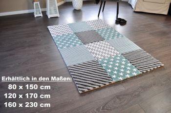 Bild 2 - Hochwertiger Design Teppich Relief TF-22 Türkis Grau Weiß STERNE 160 x 230
