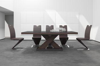 Bild 2 - Design Esstisch HE-888 Braun / Walnuss - Wenge Hochglanz ausziehbar 160 - 210 cm