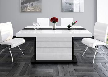 Bild 2 - Design Esstisch HE-555 Weiß - Schwarz Hochglanz ausziehbar 160 / 210 / 260 cm