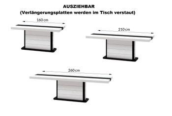 Bild 3 - Design Esstisch HE-555 Weiß - Schwarz Hochglanz ausziehbar 160 / 210 / 260 cm