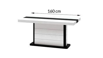 Bild 4 - Design Esstisch HE-555 Weiß - Schwarz Hochglanz ausziehbar 160 / 210 / 260 cm