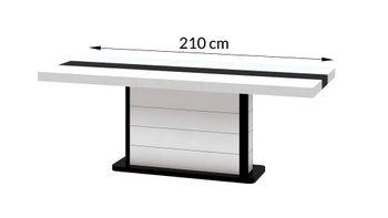 Bild 5 - Design Esstisch HE-555 Weiß - Schwarz Hochglanz ausziehbar 160 / 210 / 260 cm